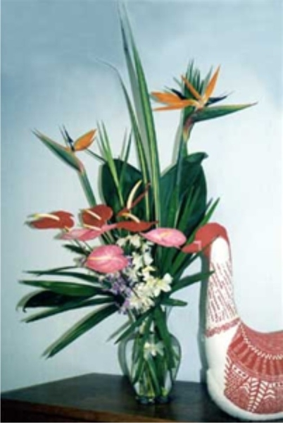 Hawaiian Tropical Flowers includes Bird of Paradise, various pink and red Anthurium with Dendrobium Orchid sprays nestled in tropical green foliage makes this a favorite all year long.  Easy to arrange, cheerful tropical colors and forms.